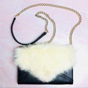 Rebecca Minkoff Fur Trim Chain Clutch Cream/Black